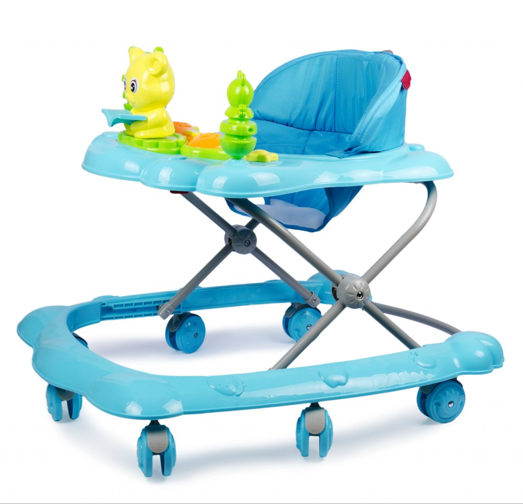 Blue baby walker with toys isolated