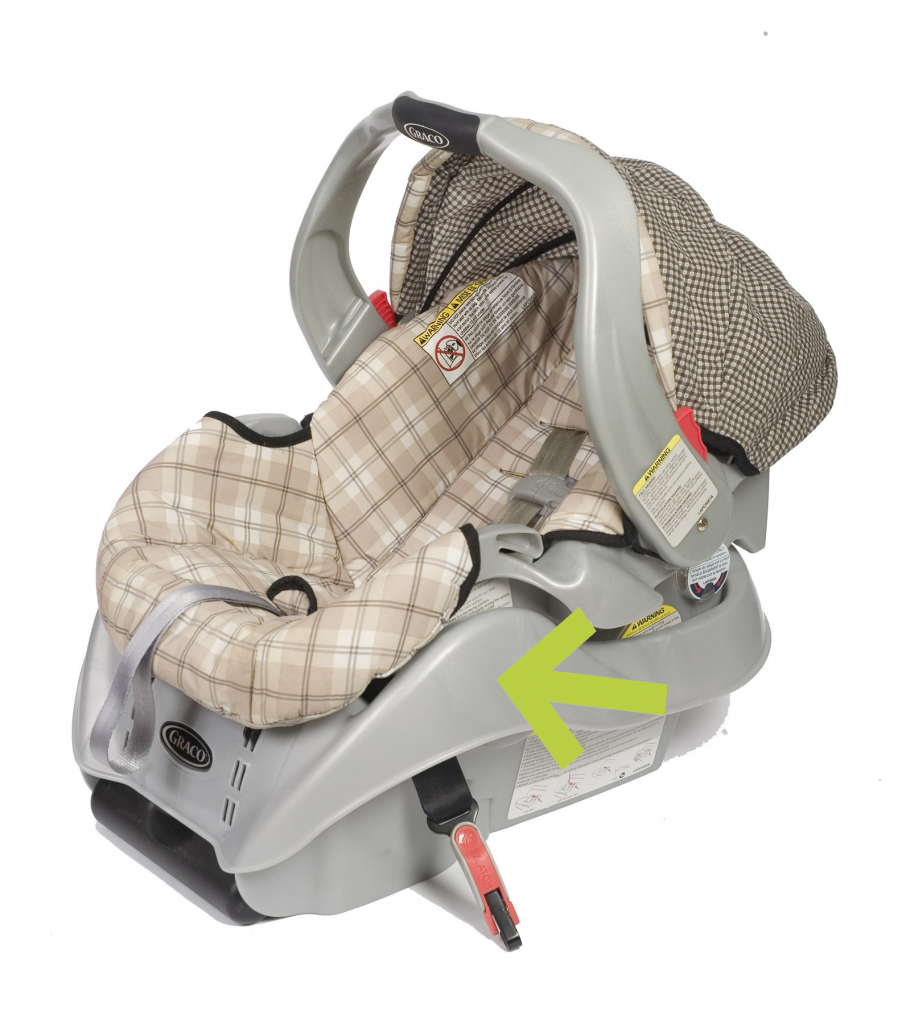 A green arrow points to the plastic or metal frame of the car seat.
