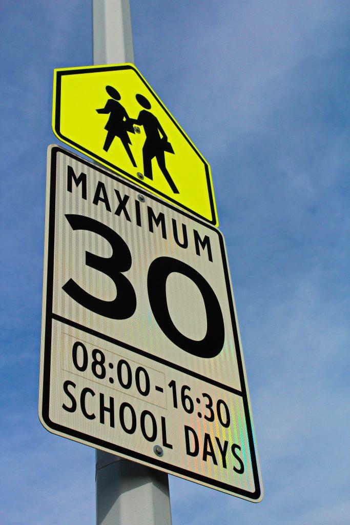 School zone sign - speed limit 30