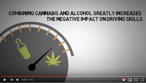 Drawing of a speedometer with a bottle on the left side and a cannabis leaf of n the other. The needle is pointing toward the cannabis leaf