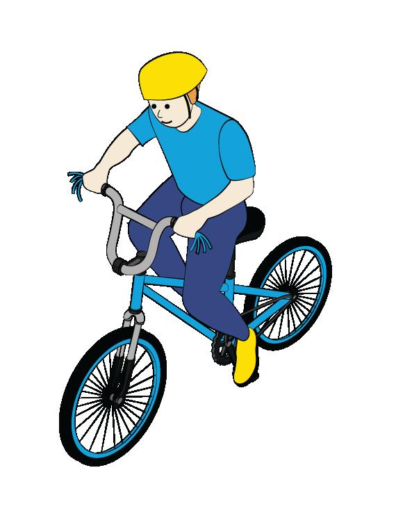 Illustration of boy riding bicycle, wearing helmet